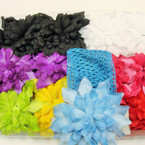 "2.5"" Crochet Headwrap w/ 4"" Mum Flower .54 ea"