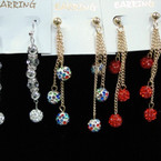 Asst Color Fireball Dangle Fashion Earrings .50 ea