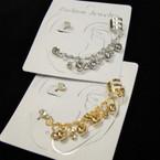 Gold & Silver Fashion Ear Cuff Set w/ Crystal Stones .50 ea