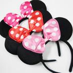 Popular Black Mouse Ear Headband w/ Poka Dot Bow 3 colors  .56 ea