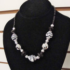 "18"" Blk,Silver & Zebra Print BEad Necklace Set .54 ea"