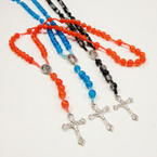 "10 Color 34"" Glass Bead Rosary w/ Silver Cross w/ Jesus .54 ea"