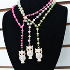 "18"" Colored Crystal Look Bead Necklace w/ Gold Owl Crystal Pend. .54 ea"
