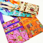 "4.5"" X 7""  Asst Color 2 Zipper Side Bag w/ Long Strap Owl Theme .54 ea"