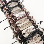3 Strand Leather Bracelet 2 Style Jesus Fish Symbol .54 ea