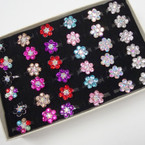 Adj. Band Crystal Stone Flower Rings 36 per bx ONLY .25 ea