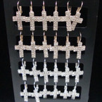 Rhinestone Euro Wire Cross Earrings Gold/Sil 12 pair display .54 ea