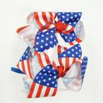 Satin Headband w/ USA Flag Bow .54 ea