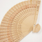 "8"" Wood Fashion Fan w/ Flower Print  .54 ea"