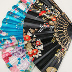 "9"" Oriental Flower Print Fashion Hand Fan Asst Colors  .54 ea"