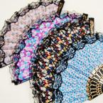 """9"""" Asst Color w/ Lace Flower Print Fashion Hand Fan   .54 ea"""