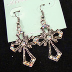 "1.25"" Antique Silver Cross Earring w/ Crystal .50 ea"