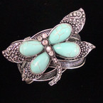 Silver Cuff Bangle Dragon Fly w/ Crystals & Turquoise Beads $ 3.50 ea