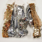 "2 Pk 1"" Gold & Silver Sequin Stretch Headbands .50 per set"