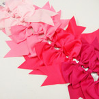 "6"" X 8"" Cheerleader Tail Bows on Gator Clip Mixed Pink Tones .54 ea"