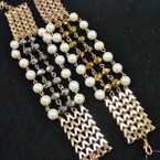 Metallic Bead & Pearl Gold Link Bracelets ONLY .33 ea