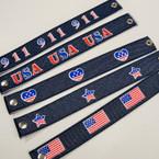 Denium USA Theme Snap Closure Bracelets .25 ea
