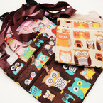 """5"""" X 6"""" 2 Zipper Side Bag w/ Strap Owl Theme  .54 ea"""
