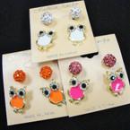 Colorful Crystal Owl Earring w/ Fireball Stud .54 per set