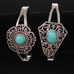 Open Silver Cuff Bangle w/ Turquoise Stone 2 styles  .54 ea