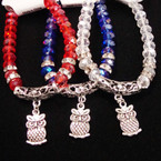 Crystal Bead Bracelet w/ Mini Crystals & Owl Charm  .54 ea