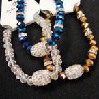 Crystal Bead Bracelet w/ Mini Crystals & Fire Ball Bead  .54 ea
