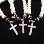 Pearl & Crystal Bead Bracelet w/ Cry. Stone Cross   .54 ea