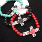 Stone Stretch Bracelet w/ Inlay Cross 3 colors .54 ea