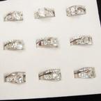 Silver Crystal Stone Wedding Band Set (33)  .54 ea