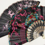 """9"""" Peacock  Embroidered Hand Fan .54 ea"""
