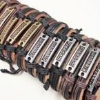Popular Teen Leather Bracelets Freedom Plaque .54 ea