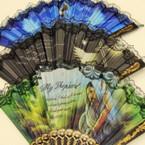 """9"""" Lace Hand Fans w/ Faith Scriptures .56 ea"""