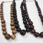 "3 Color 18"" Wood Bead Fashion Necklace .56 ea"
