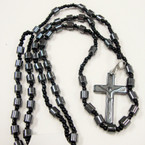 "36"" Hematite Tube Bead Rosary w/ Cross w/ Jesus .54 ea"