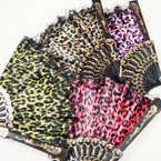 "9"" Asst Color w/ Lace Leopard Print Fashion Hand Fan   .54 ea"