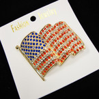 "SPECIAL 2"" Gold Frame Wavy USA Crystal Stone Broach sold by pc $ 1.25 ea"