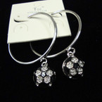"1.5"" Silver Hoop Earring w/ Soccer Ball w/ Crystals sold by pr $ 1.25 ea"