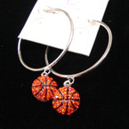 "1.5"" Silver Hoop Earring w/ Basketball w/ Crystals sold by pr $ 1.25 ea"