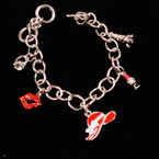 SIlver Link Red Hat Theme Charm Bracelets sold by pc $ 1.50 ea