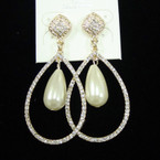 "Elegant 2.5"" Gold Oval Crystal Stone Earring w/ Pearl sold by pr $ 1.50 ea"