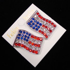 "1.25"" USA Flag Crystal Stone CLIP ON Earrings sold by pr $ .65 ea"