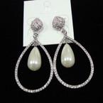 "Elegant 2.5"" Silver Oval Crystal Stone Earring w/ Pearl sold by pr $ 1.50 ea"