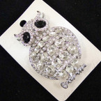 "2.5"" Silver Crystal Stone OWL Broach sold by pc $ 1.75 ea"