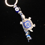 Great Value Cry. Stone Turtle Keychain w/ Glass Eye Beads .56 ea