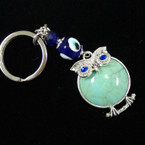 Great Value Turquoise Stone Owl Keychain w/ Glass Eye Beads .54 ea