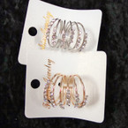 6 Line Gold/Silver Wire Fashion Ring Clear Crystals Carded  .54 ea