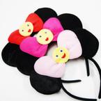 Black Mouse Ear Headband w/ Bow & Happy Face .56 ea