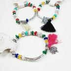 Fancy Beaded BRacelet w/ Tassel  Tree of Life Charm .54 ea