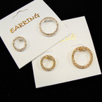 New Gold/Silver  2 Size Pave Stone Look Fashion Earring .54 ea
