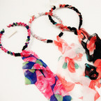 Flower Print Headband w/ Dangle Scarf Tails .50 ea